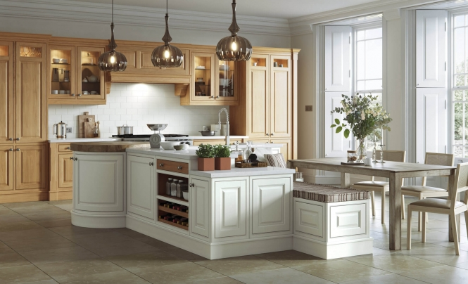 Langley Kitchen in White Oak and Painted Porcelain