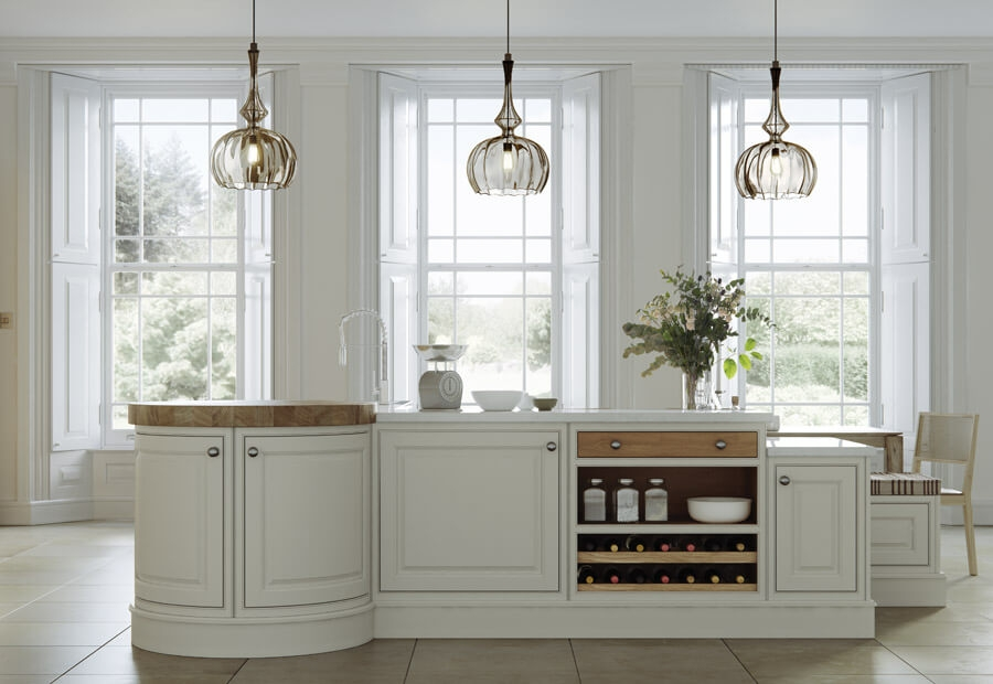 Langley Kitchen in White Oak and Porcelain Island