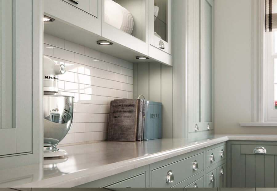 Mayfair Kitchen Painted Sage Green & Stone Lifestyle