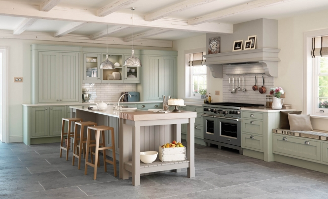 Mayfair Kitchen Painted Sage Green & Stone