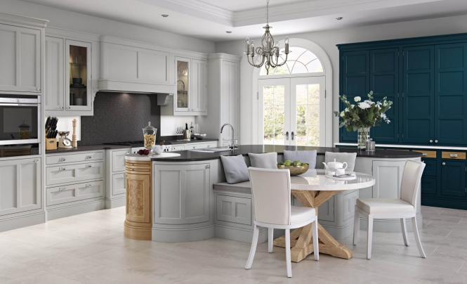 Molson Kitchen Painted Light Grey & Marine with White Oak & Burr Oak