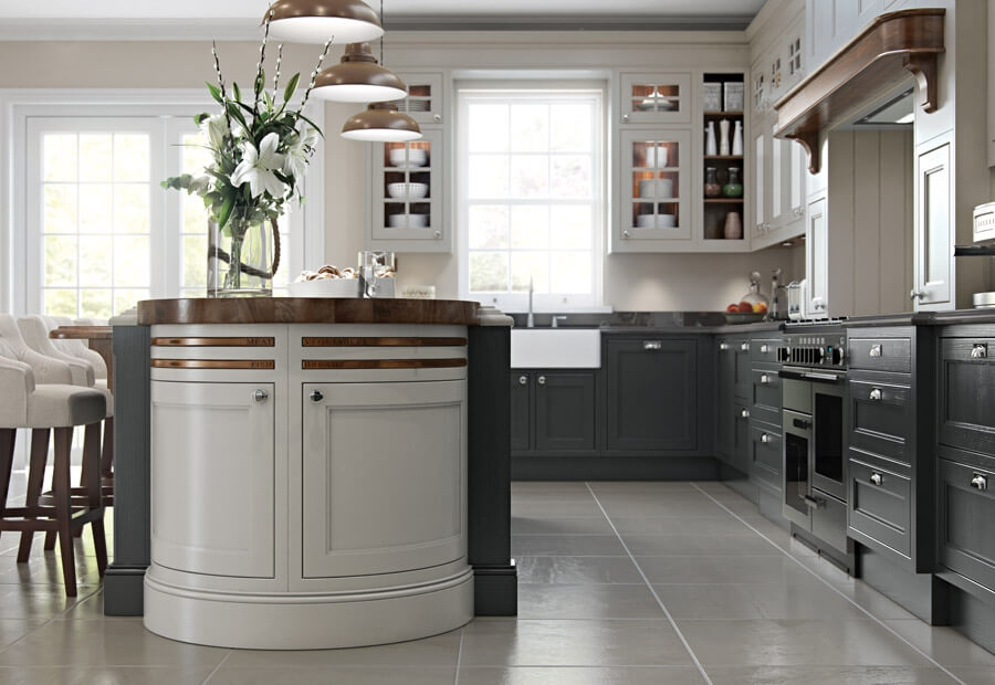 Sutton Kitchen Painted Shell & Graphite with Walnut Barrel Unit