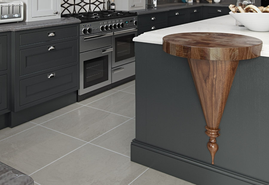 Sutton Kitchen Painted Shell & Graphite with Walnut Conical Pedestal