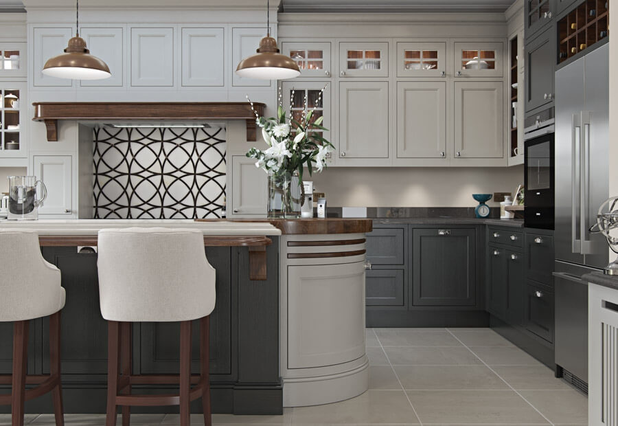 Sutton Kitchen Painted Shell & Graphite with Walnut Overmantle