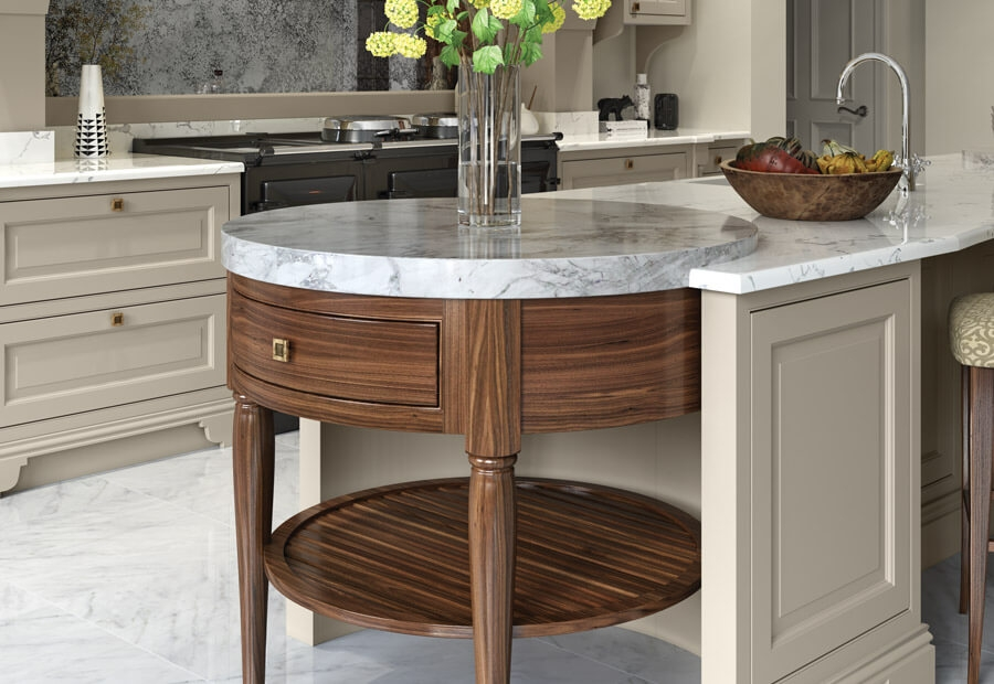 Yorkton Kitchen in Walnut & Painted Suede Circular End Table