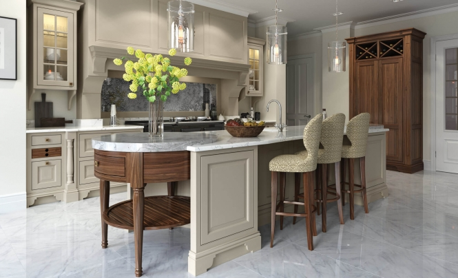 Yorkton Kitchen in Walnut & Painted Suede