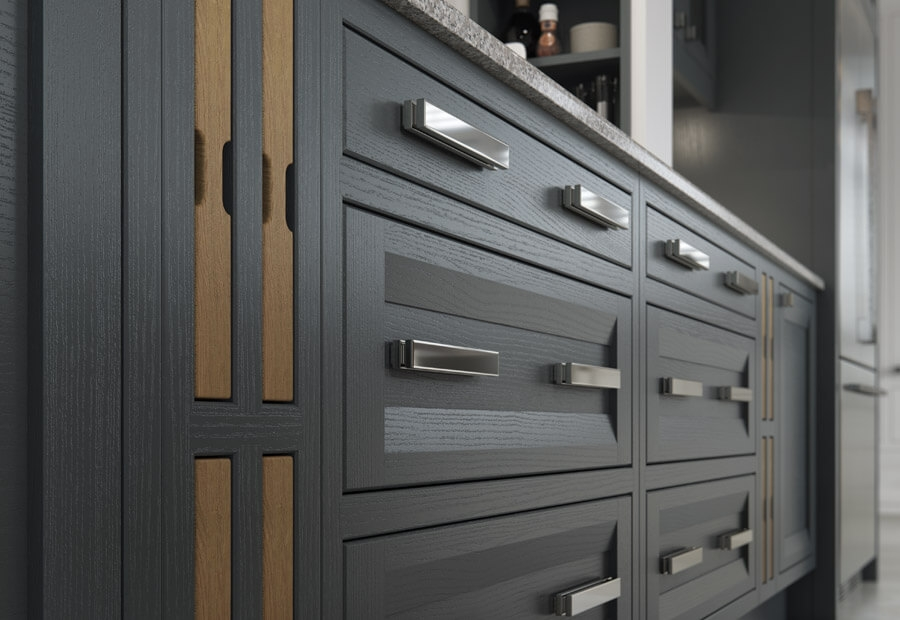 Peterborough & Montreal Kitchen in Painted Gun Metal Grey & Brilliant White and Sandblasted Character Oak Inset Trays