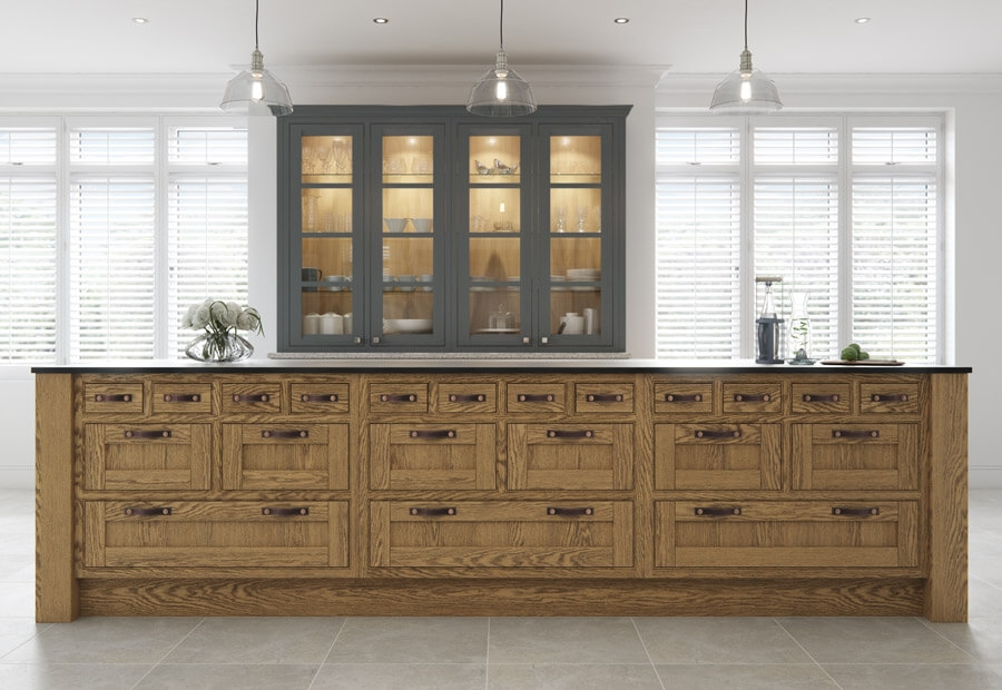 Peterborough & Montreal Kitchen in Painted Gun Metal Grey & Brilliant White and Sandblasted Character Oak Island & Dresser
