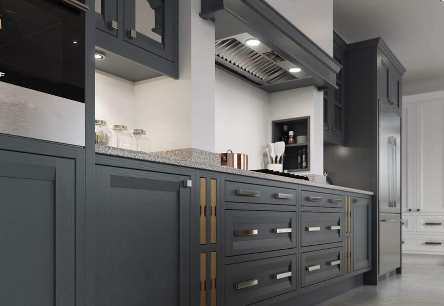 Peterborough & Montreal Kitchen in Painted Gun Metal Grey & Brilliant White and Sandblasted Character Oak Overmantle