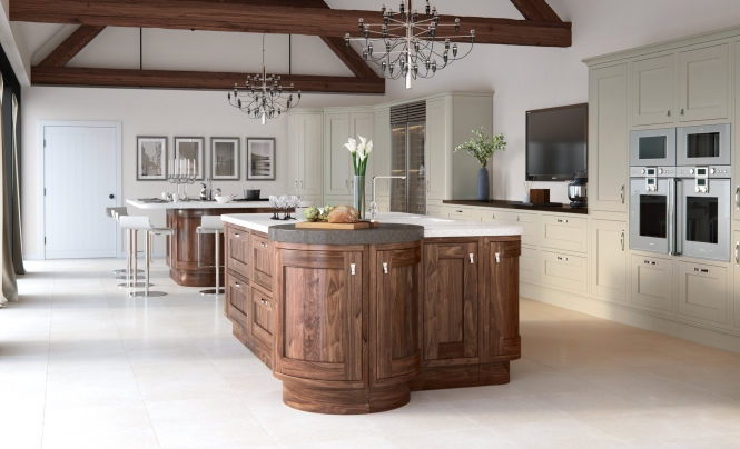 Sudbury & Hudson Kitchen in Painted Stone and Walnut
