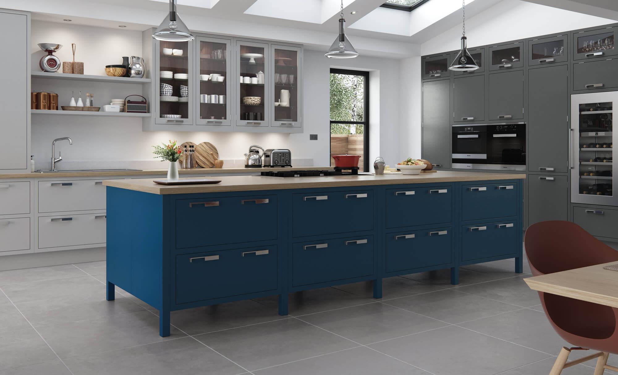 Contemporary Aurora Kitchen In Painted Light Grey Gun Metal Parisian Blue