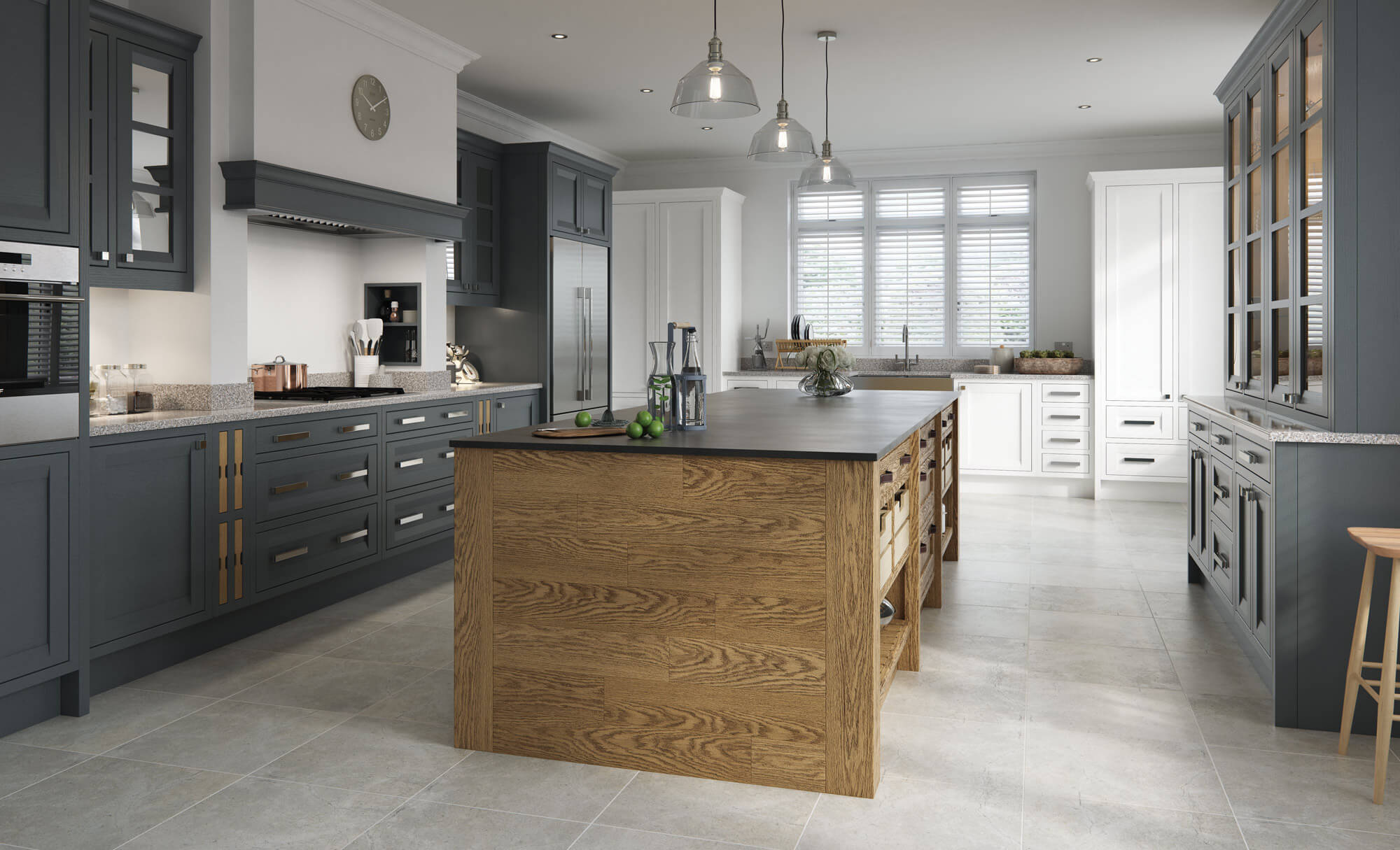 Peterborough & Montreal Kitchen in Painted Gun Metal Grey & Brilliant White and Sandblasted Character Oak