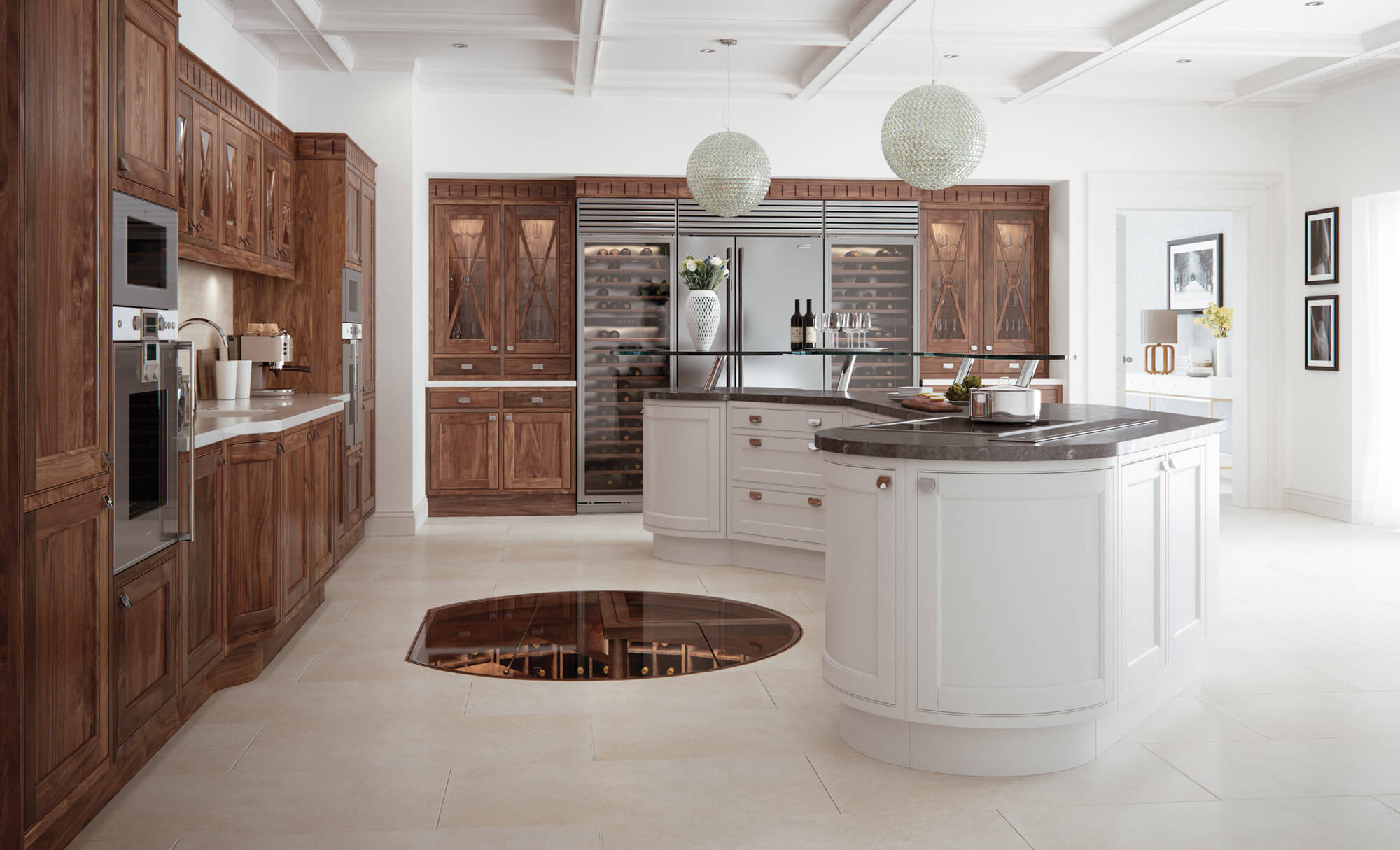 Calgary & Victoria Kitchen in Walnut and Painted Brilliant White