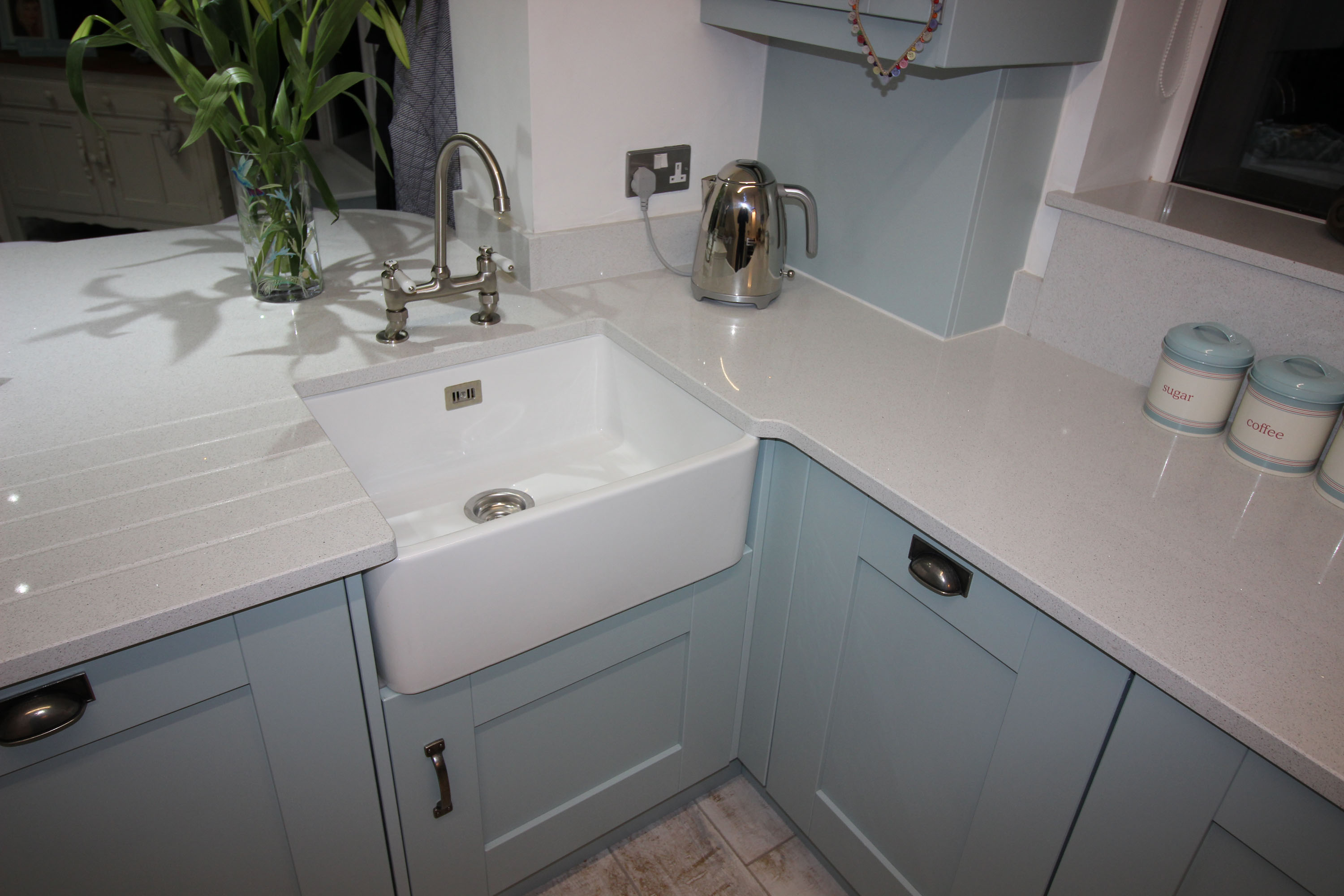 Windsor Shaker Kitchen in Painted Powder Blue Featuring a Belfast Sink